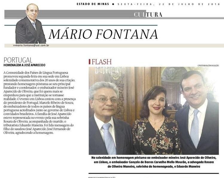 PORTUGAL - Homenagem a José Aparecido