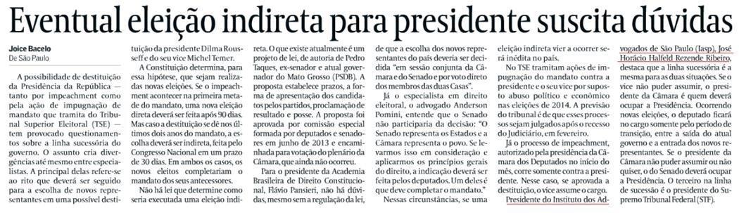 Eventual eleição indireta para presidente suscita dúvidas