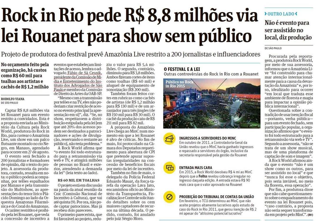 Rock in Rio pede R$ 8,8 milhões via lei Rouanet para show sem público