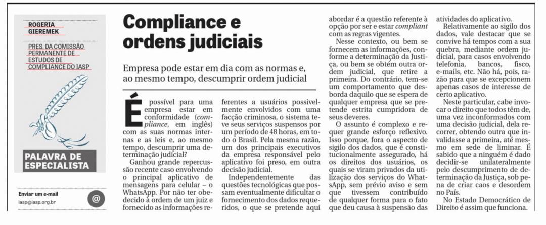 Compliance e ordens judiciais