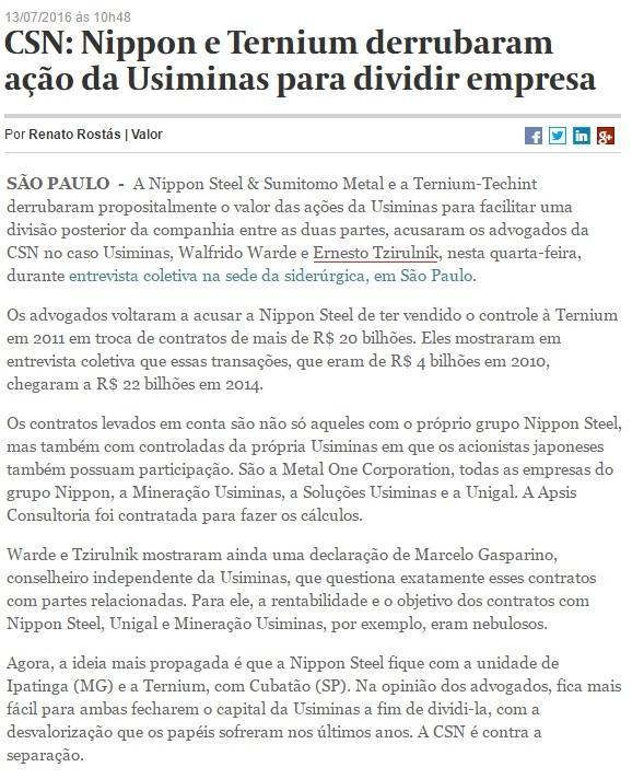 CSN: Nippon e Ternium derrubaram ação da Usiminas para dividir empresa