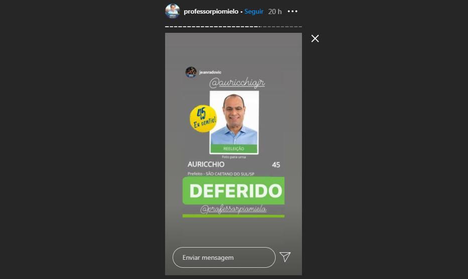 Em São Caetano, auxiliares de prefeito postam imagem falsa segundo a qual candidatura foi autorizada