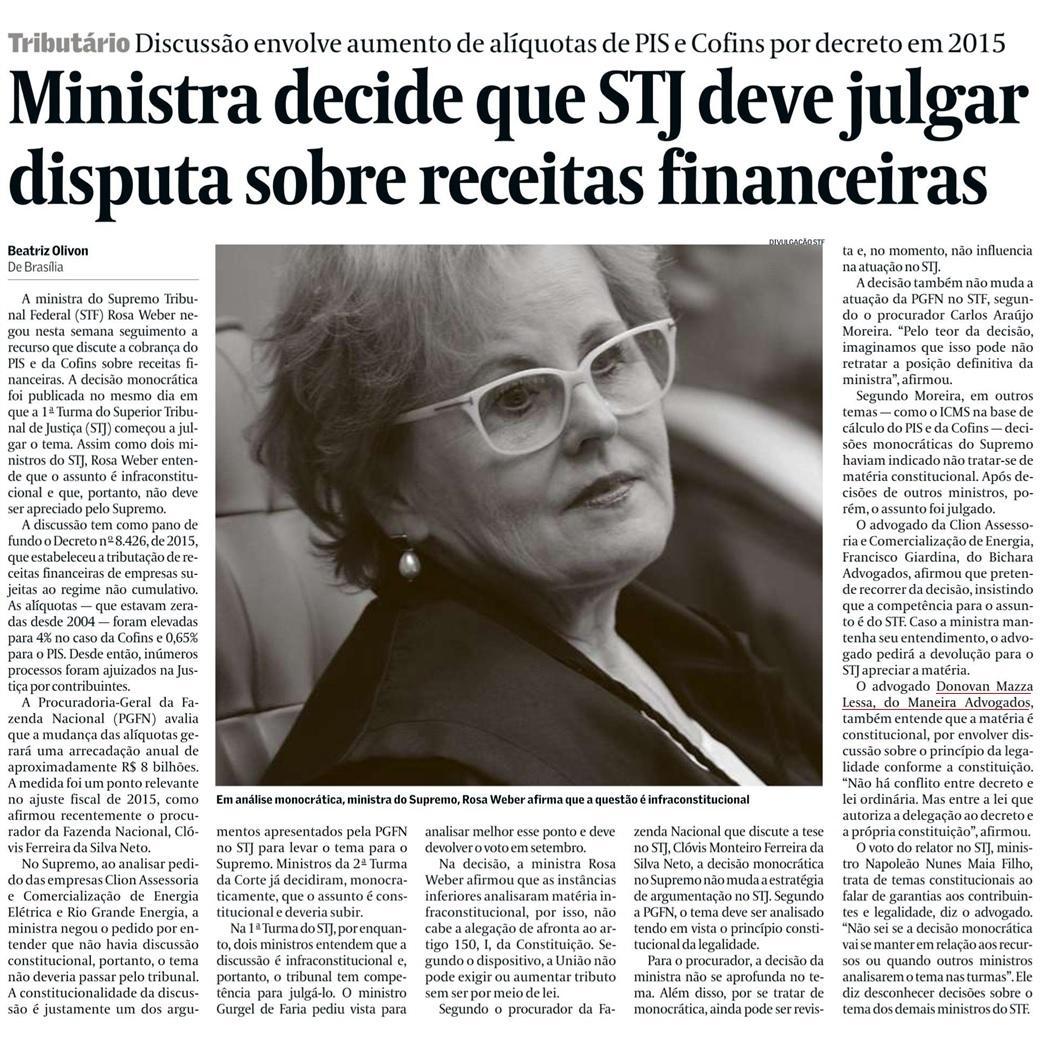 Ministra decide que STJ deve julgar disputa sobre receitas financeiras