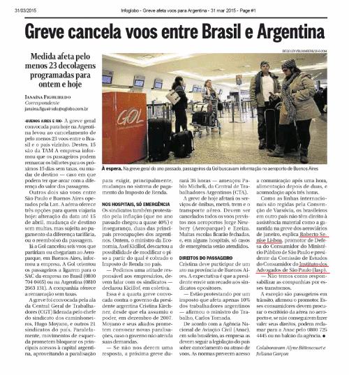 Greve cancela voos entre Brasil e Argentina