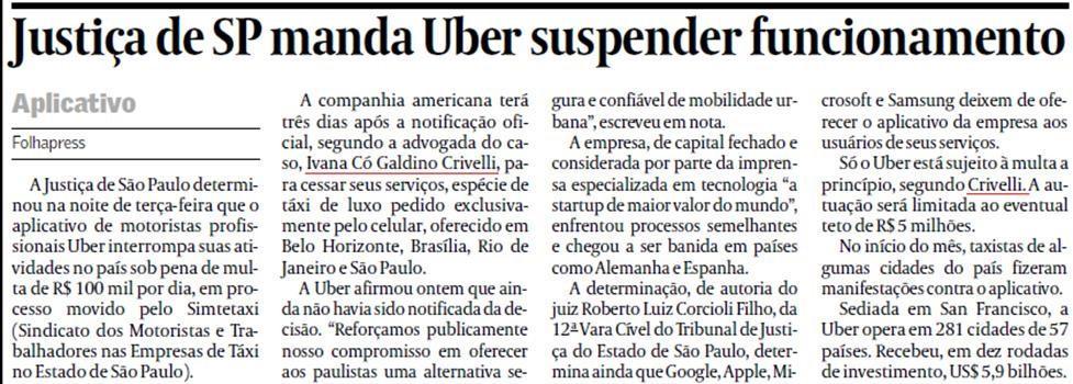 Justiça de SP manda Uber suspender funcionamento