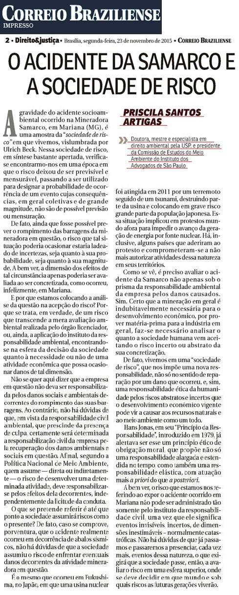 O acidente da Samarco e a sociedade de risco