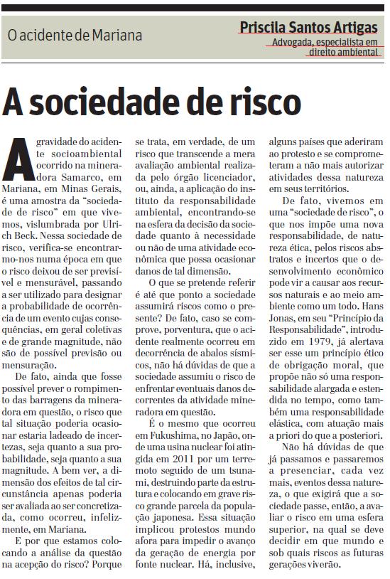 O acidente de Mariana: A SOCIEDADE DE RISCO