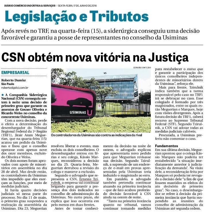 CSN obtém nova vitória na Justiça