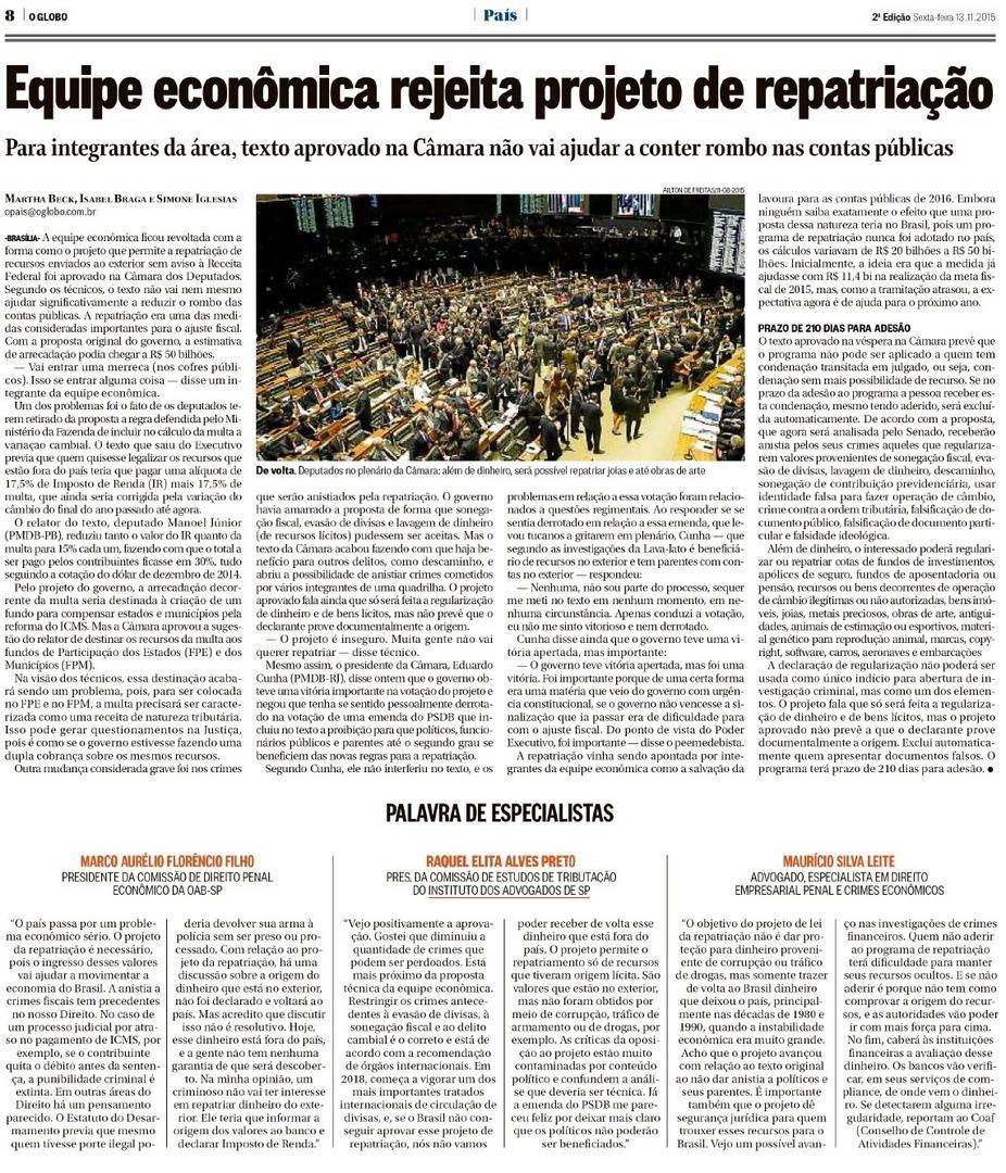 Equipe econômica rejeita projeto de repatriação