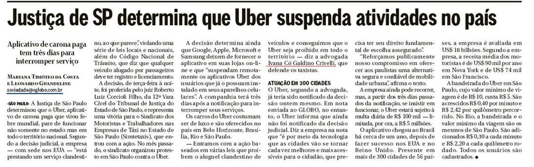 Justiça de SP determina que Uber suspenda atividades no país