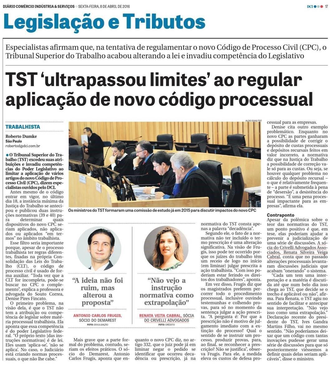 TST 'ultrapassou limites' ao regular aplicação de novo código processual