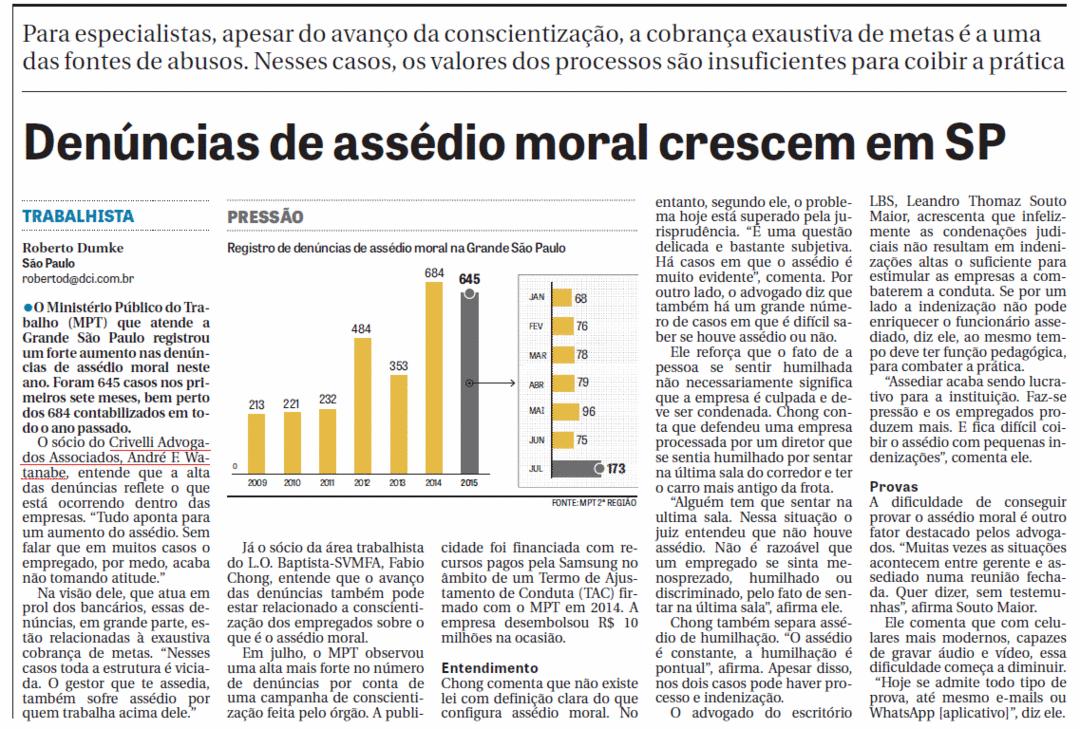 Denúncias de assédio moral crescem em SP