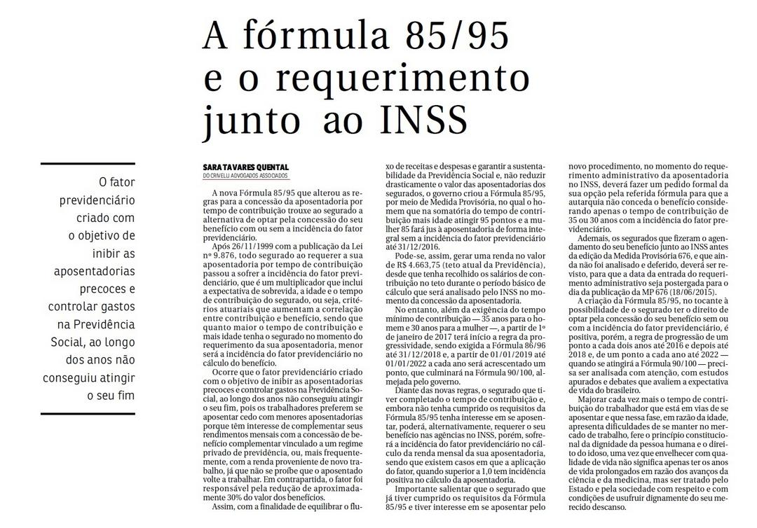 A Fórmula 85/95 e o requerimento junto ao INSS