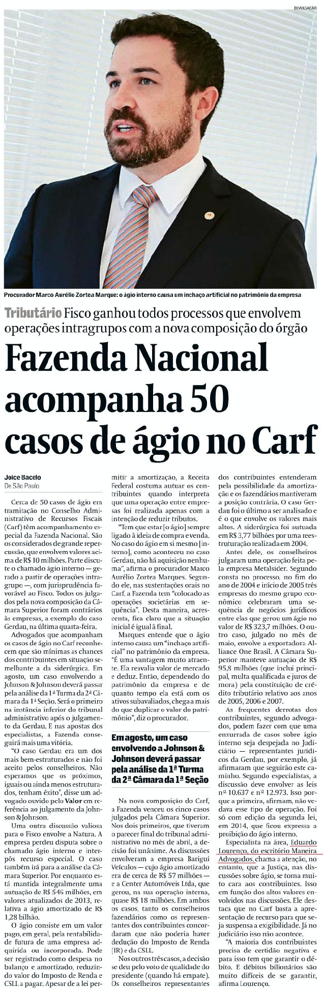 Fazenda Nacional acompanha 50 casos de ágio no Carf