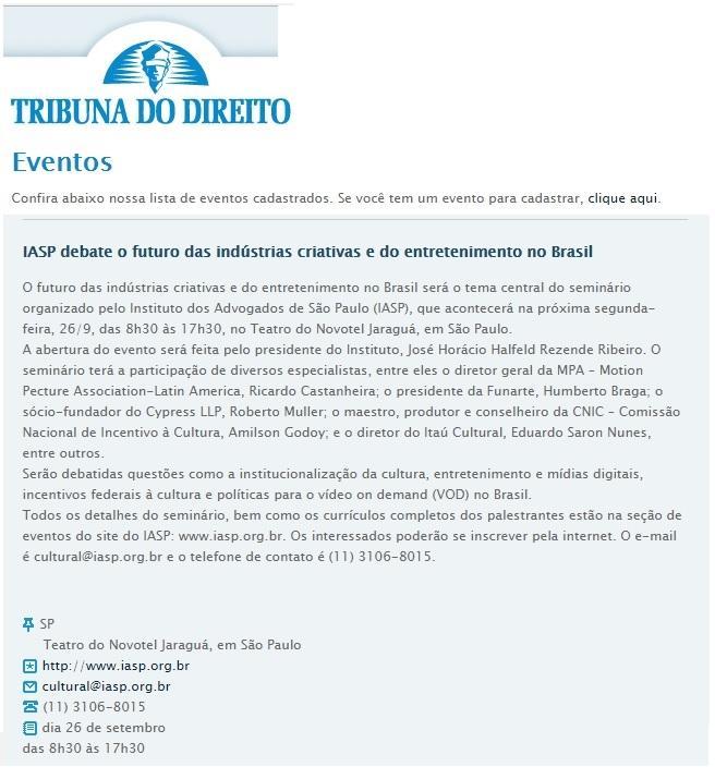 IASP debate o futuro das indústrias criativas e do entretenimento no Brasil