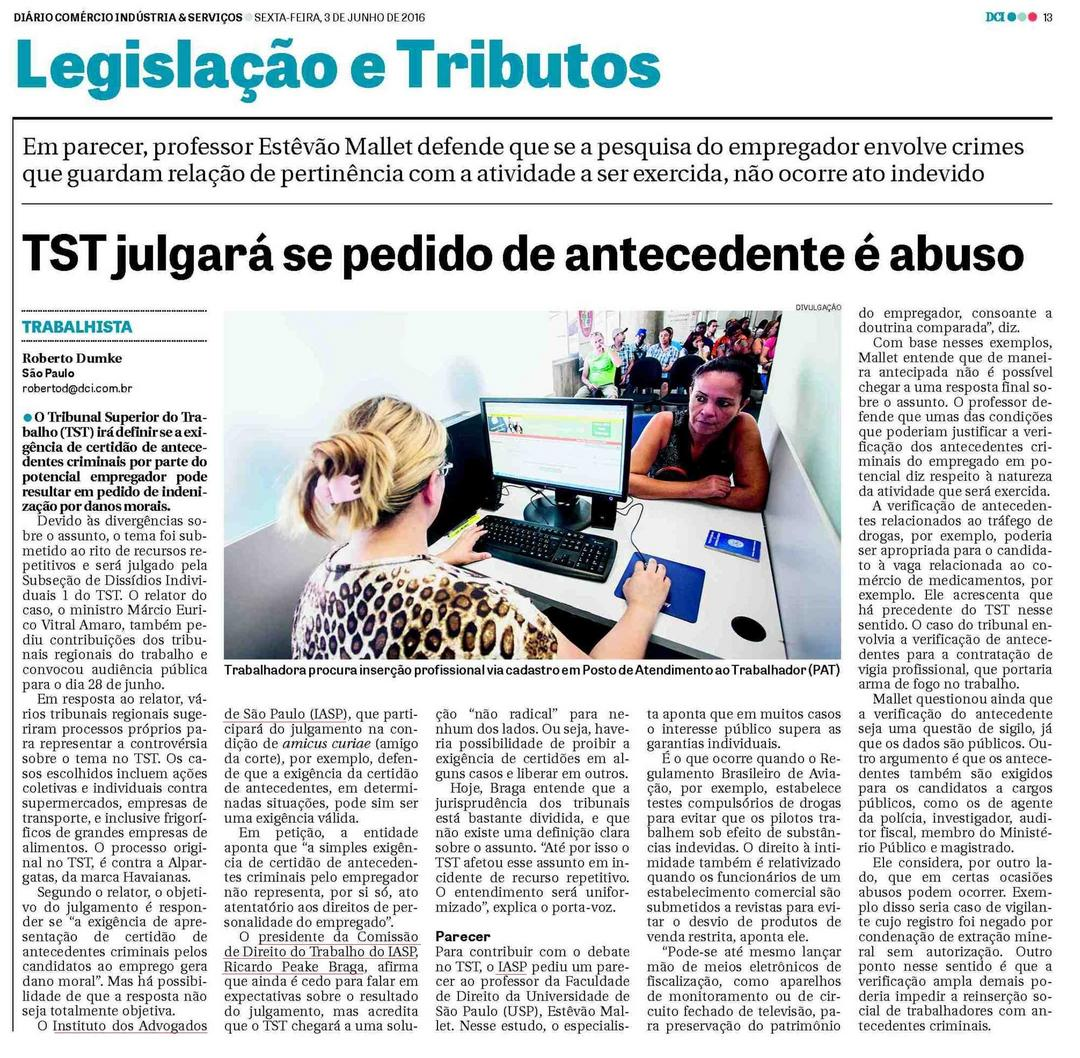 TST julgará se pedido de antecedente é abuso
