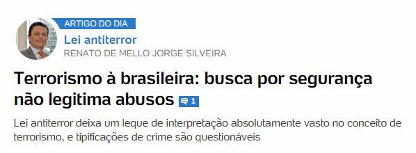 Terrorismo à brasileira: busca por segurança não legitima abusos