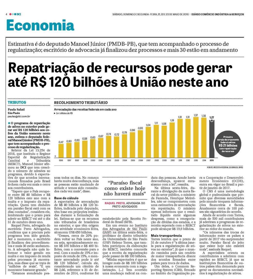 Repatriação de recursos pode gerar até R$ 120 bilhões à União neste ano