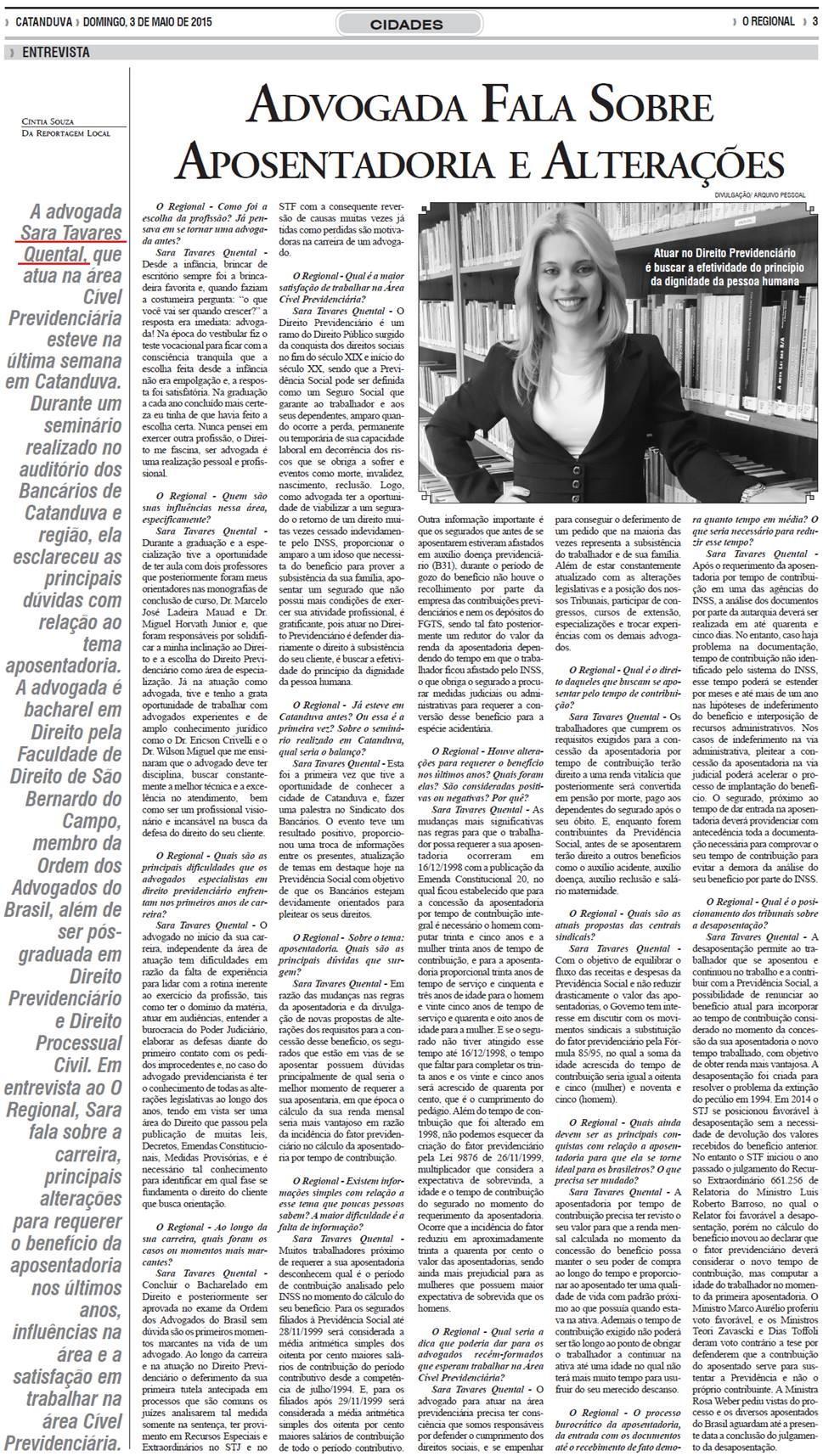 Advogada fala sobre aposentadoria e alterações