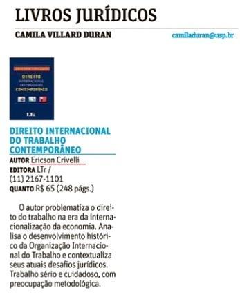 Livros Jurídicos: DIREITO INTERNACIONAL DO TRABALHO CONTEMPORÂNEO