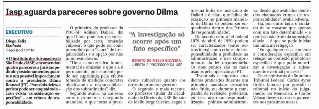 Iasp aguarda pareceres sobre governo Dilma
