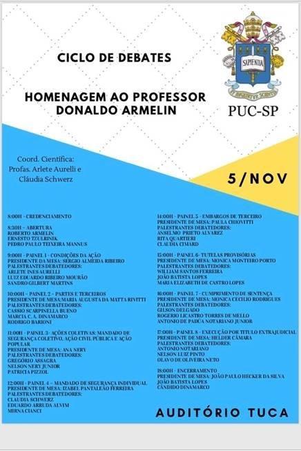 PUC-SP promove ciclo de debates em homenagem ao professor Donaldo Armelin