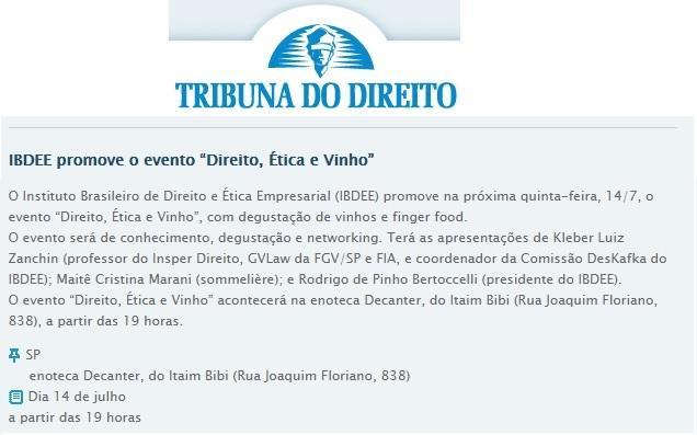 """IBDEE promove o evento """"Direito, Ética e Vinho"""""""