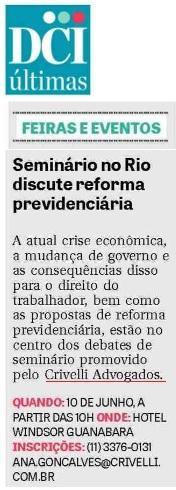 Seminário no Rio discute reforma previdenciária