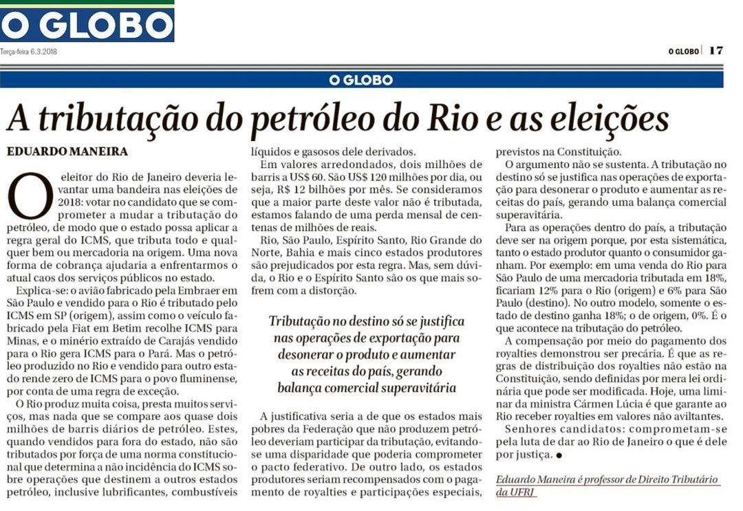 A tributação do petróleo do Rio e as eleições