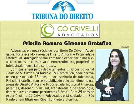 Priscila Bratefixe é nova sócia do Có Crivelli Advogados