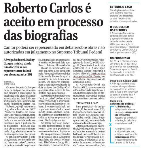 Roberto Carlos poderá participar do processo sobre biografias