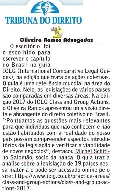 Oliveira Ramos Advogados escreve capítulo brasileiro do Guia ICLG