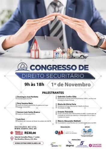 Nova Lei de Contrato de Seguros será debatida em congresso promovido pela OAB-PR